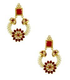 Buy Ruby Red Polki Stones Dangle Earrings Jewellery for Women - Orniza Earring online