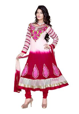 Fabdeal White & Crimson Colored Faux Georgette Semi-Stitched Salwar Suit