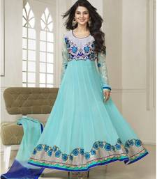 Buy CYAN embroidered georgette unstitched salwar with dupatta party-wear-salwar-kameez online