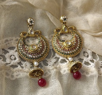 Traditional Danglers in Antique Gold
