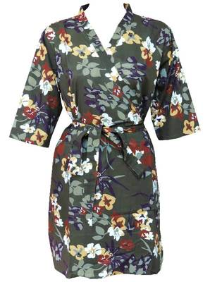 Floral cotton robe - knee length - nightwear - lounge wear - night wear - maternity wear - d3