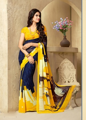 Yellow and  Blue georgette georgette saree with blouse