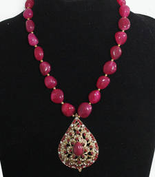 Buy Pink Jadau Stones Necklace Necklace online