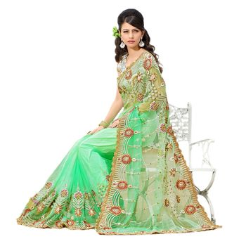 Hypnotex Net Green Color Designer Saree Star110