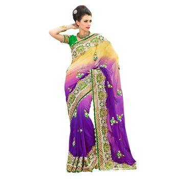 Hypnotex Viscose Georgette Purple and Yellow Color Designer Saree Star117