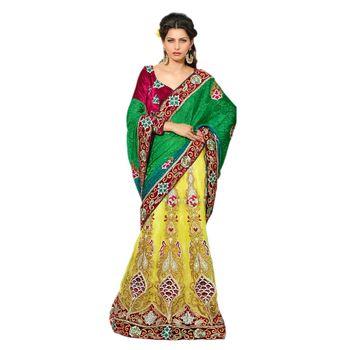 Hypnotex Viscose Jacquard and Net Green and Yellow Color Designer Lehenga Saree Star124