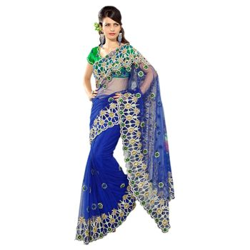 Hypnotex Velvet and Net Maroon and Yellow and Orrange Color Designer Saree Star129