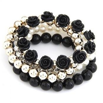 Roses Bracelet set- Black