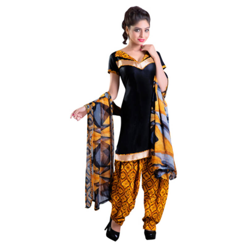 Buy Black Cotton Printed Unstitched Salwar With Dupatta Online