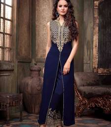 Buy Blue georgette embroidered semi stitched salwar with dupatta collar-neck-design online
