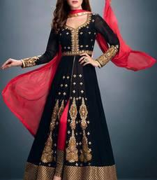 Buy Black georgette embroidered semi stitched salwar with dupatta salwar-kameez-below-2000 online