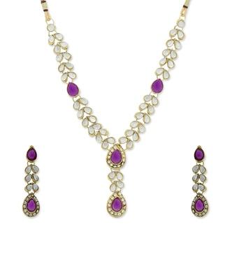 Purple Diamante Designer Ethnic Necklace set