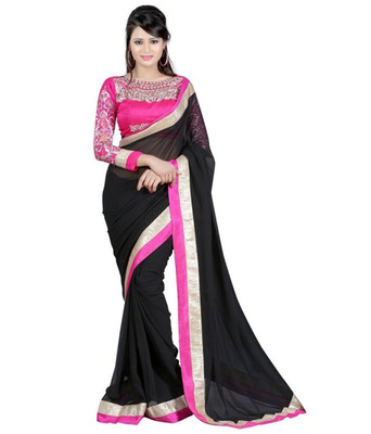 black embroidered georgette sareem with blouse