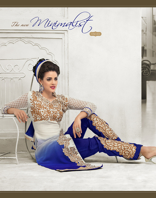 White and Blue embroidered  semi stitched salwar with dupatta