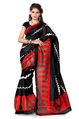 Black and red printed art_silk saree with blouse