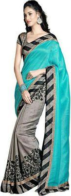 rama and grey  bhagalpuri silk saree with blouse
