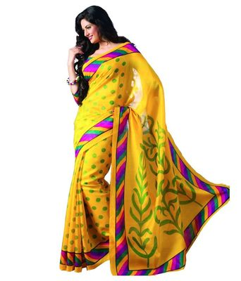 yellow  bhagalpuri silk saree with blouse