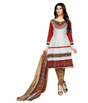 White printed Cotton unstitched salwar with dupatta