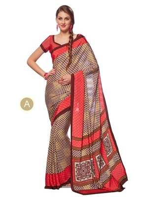 multicolor printed Crepe saree with blouse