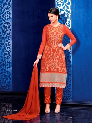 Orange georgette embroidered semi stitched salwar with dupatta