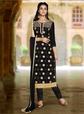 Black Chanderi embroidered unstitched salwar with dupatta