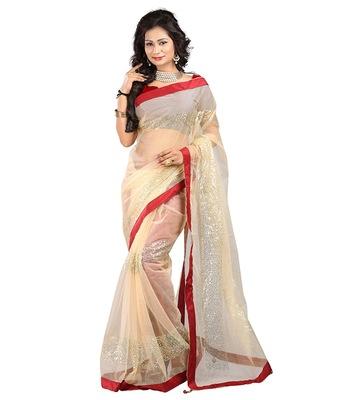 Beige color Net Orignal  saree with blouse