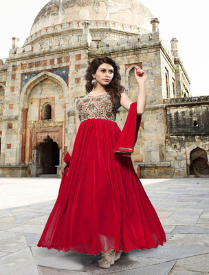 Red georgette embroderied semi stitched salwar with dupatta