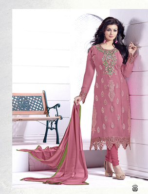 Pink faux georgette embroderied semi stitched salwar with dupatta
