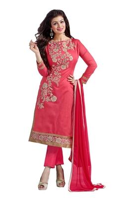 Pink chanderi embroidered semi stitched salwar