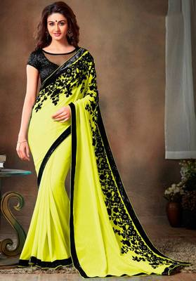 Lemon Yellow embroidered georgette saree with blouse