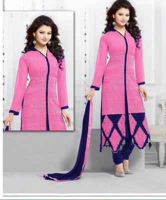 pink georgette printed semi stitched salwar with dupatta