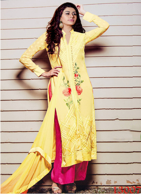 yellow embroidered georgette semi stitched salwar with dupatta