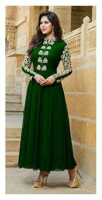 Green georgette embroidered unstitched salwar with dupatta