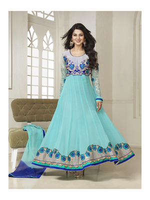 Sky blue net embroidered unstitched salwar with dupatta