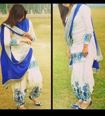 White cottan embroidered unstitched salwar with dupatta