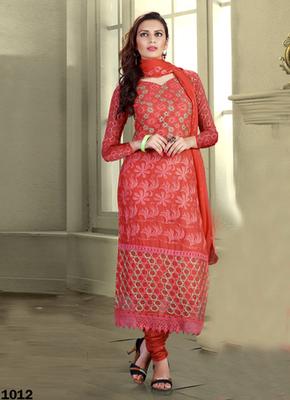 Red Karachi Nazneen semi stitched salwar with dupatta