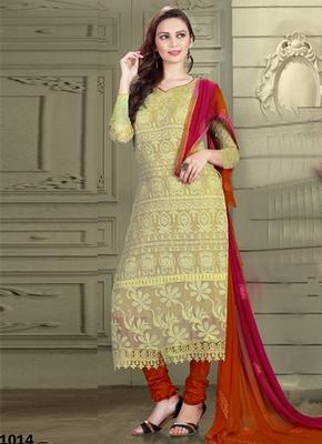 Light yellow Karachi Nazneen semi stitched salwar with dupatta