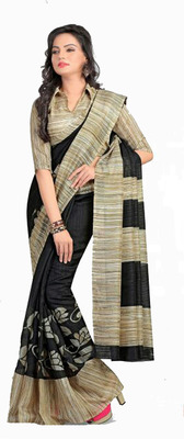 BLACK printed art silk sare with blouse