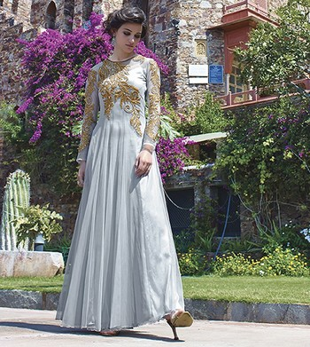 Grey Georgette  and  Net  embroidered semi stitched salwar with dupatta