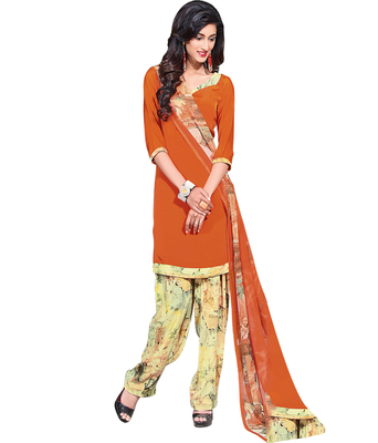 Orange printed Crepe unstitched salwar with dupatta