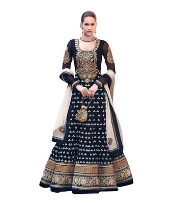 Black georgette embroidered semi and stitched salwar with dupatta