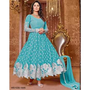 Sky Blue embroidered georgette semi stitched salwar with dupatta