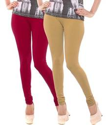 Buy Multi-Color plain 4-Way Lycra Cotton leggings leggings-combo online
