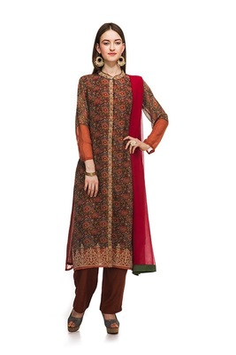 Multicolor georgette printed semi  stitched salwar with dupatta