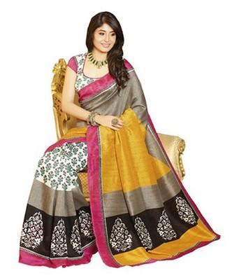 Brown and yellow printed bhagalpuri silk saree with blouse