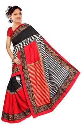 red and black  printed art silk saree with blouse