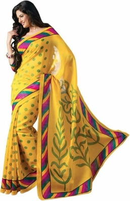 Yellow printed art silk saree with blouse