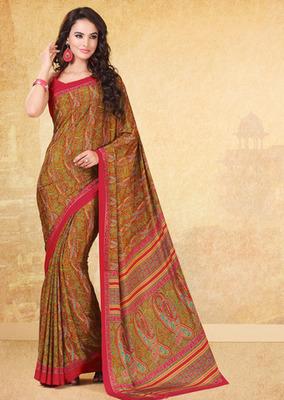 Brown printed crepe saree with blouse