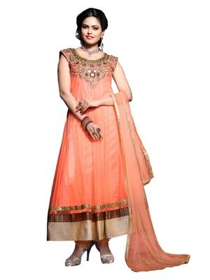 Orange Net embroidered semi stitched salwar with dupatta