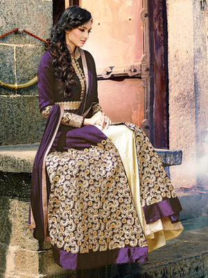 Purple silk embroidered semi stitched salwar with dupatta